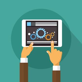 Hände, die tablet-computer halten