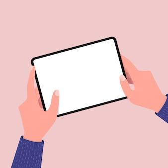 Hände, die tablet-computer mit leerem bildschirm durchlöchern.