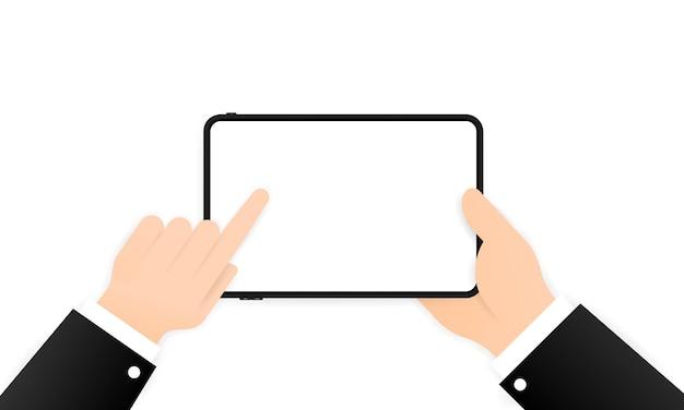 Hände, die tablet-computer mit leerem bildschirm halten.