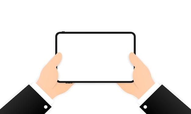 Hände, die tablet-computer mit leerem bildschirm halten
