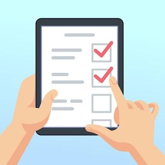 Hände, die tablette mit on-line-übersichtsformular, fragebogen halten. mobiles marketing-feedback-vektor-konzept. illustration der checkliste und der fragebogenliste, tablette mit feedback