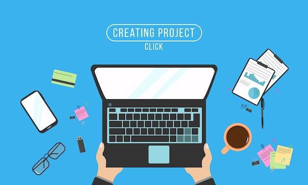 Hände, die text auf computertastatur eingeben. draufsicht mit tabelle, laptop, brille, tablette, taschenrechner, notizblock und kaffee. programmiercodierung auf laptop-computer. realistische arbeitsplatzorganisation. illustration