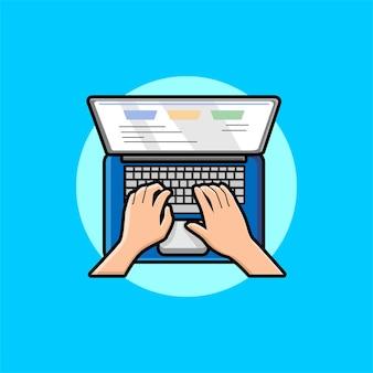 Hände, die text auf der laptop-tastaturkarikatur eingeben