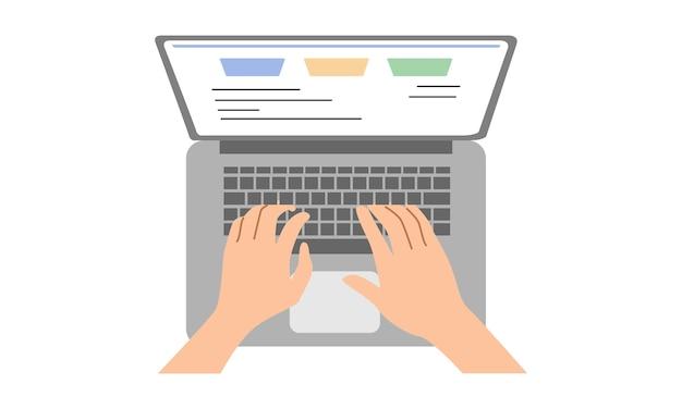 Hände, die text auf der laptoptastatur eingeben