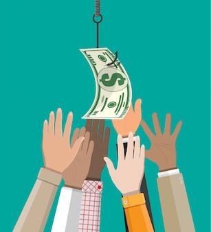 Hände, die versuchen, dollar auf angelhaken zu bekommen.