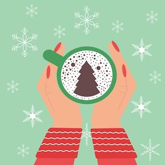 Hände, die weihnachtskaffeetasse halten weihnachten entspannen sie sich am kalten morgen. flache vektorillustration.