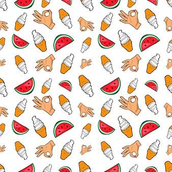 Hände eiscreme und wassermelone nahtloses muster. hintergrund im retro-comic-stil