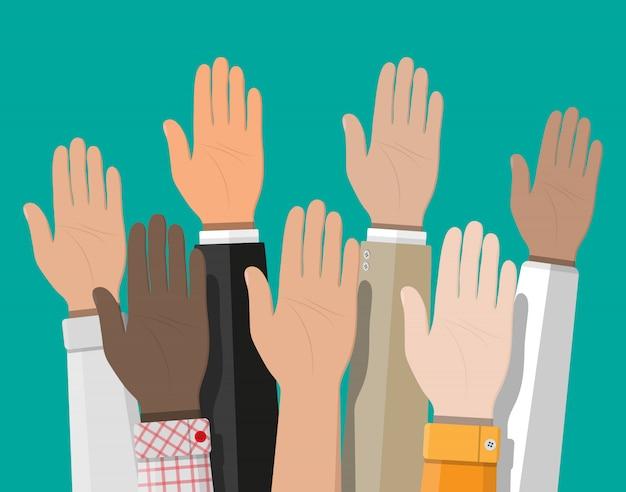 Hände erhoben. leute wählen hände.