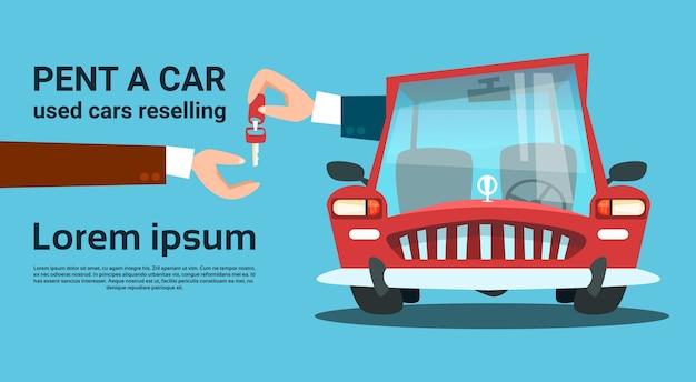 Hände geben key car rent service