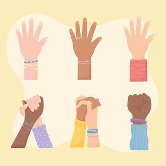 Hände gegen rassendiskriminierung