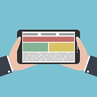 Hände hält digitales tablet. flaches designkonzept für webbanner, websites. vektor-illustration.