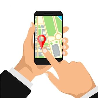 Hände hält smartphone mit kartennavigation auf einem bildschirm. gps-navigator mit rotem punkt. stadtplan mit punktmarkierungen