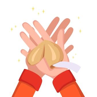 Hände halten chinesische glückskekse. gebäck mit weißen schablonen, papierstücke als glücksbringer. süßigkeiten für das neue jahr, geschenk oder urlaub. vektor-illustration