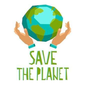 Hände halten den planeten
