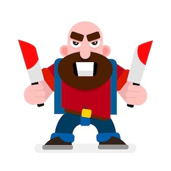 Hände halten ein blutiges messer mad killer vector illustration