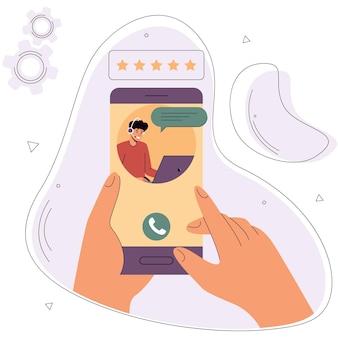Hände halten ein smartphone mit einer anwendung für den online-kundensupporttechnischer online-support