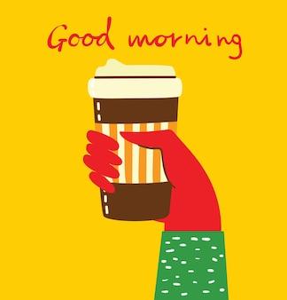 Hände halten eine tasse heißen schwarzen dunklen kaffee oder getränk, mit handgeschriebenem text, einfache, flache, farbenfrohe, warme vektorgrafik.