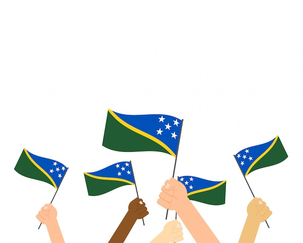 Hände halten flaggen der salomonen
