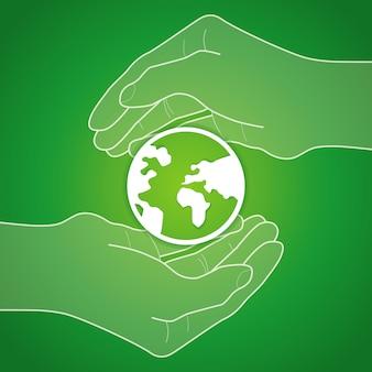 Hände halten globus-symbol