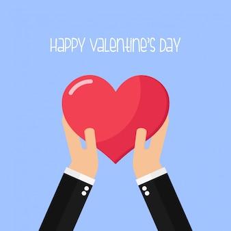 Hände halten herz-form-liebes-valentinsgruß-tagesgruß-karte