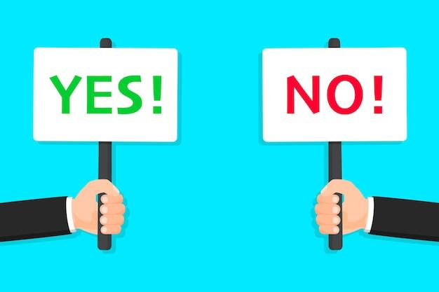 Hände halten ja- und nein-banner ja und nein-plakat richtig oder falsch positives und negatives vorzeichen