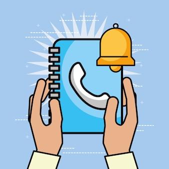 Hände halten kontakte buch glocke kundenservice