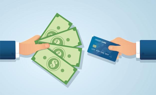 Hände halten kreditkarten- und geldscheine