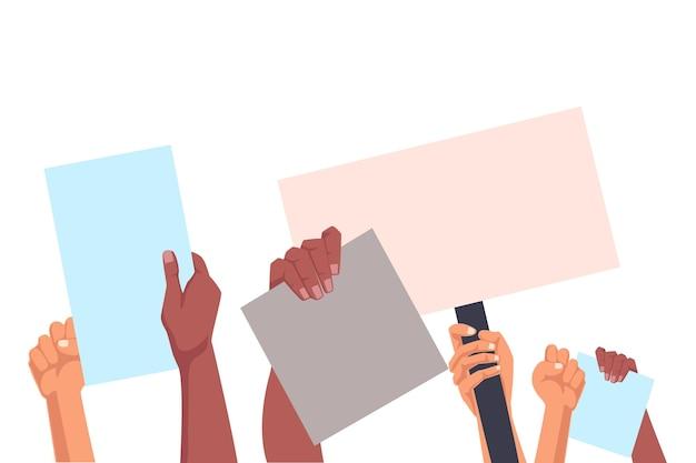 Hände halten plakate