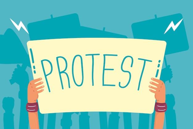Hände halten protestbanner