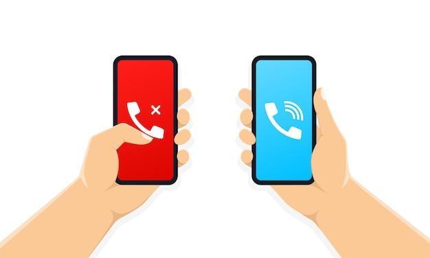 Hände halten smartphone mit anrufbildschirm
