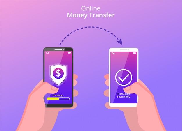 Hände halten smartphone, um geld online zu überweisen.