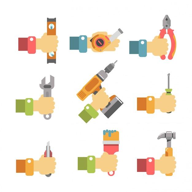 Hände halten wartungswerkzeuge