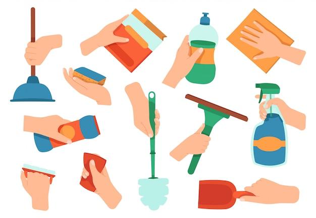 Hände halten waschmittel. reinigung desinfektion hausarbeit liefert in händen, küche und bad waschgeräte illustration ikonen gesetzt. reinigungsmittel für haushalt, arbeit und reinigungsmittel