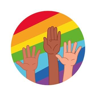 Hände hoben sich vor dem hintergrund der in einen kreis eingeschriebenen lgbt-regenbogenflagge. vektorillustration im cartoon-stil. isolierte cliparts auf weißem hintergrund