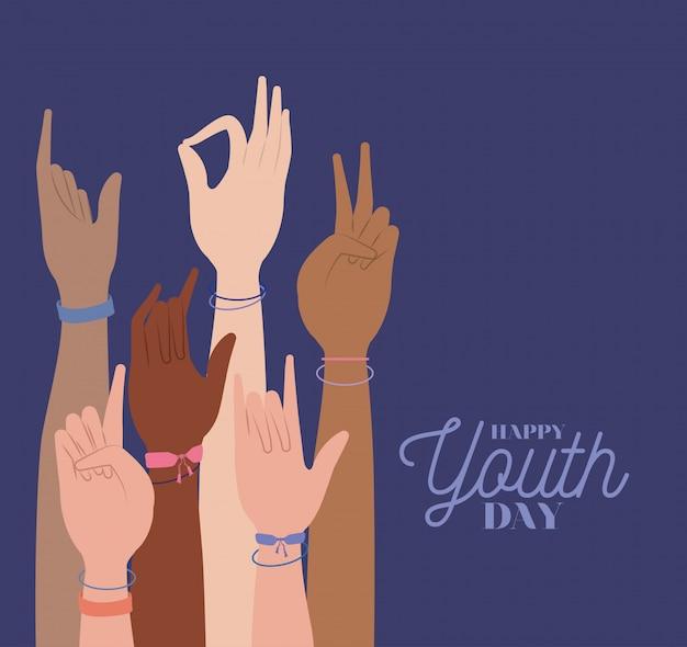 Hände hoch des glücklichen jugendtages
