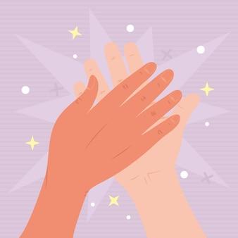 Hände hoch fünf illustrationsdesign
