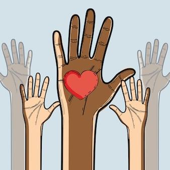 Hände hoch, um die freiheit am 17. juni zu feiern