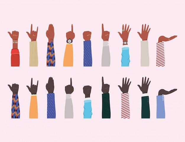 Hände hoch von verschiedenen arten von skins design, vielfalt menschen multiethnische rasse und community-thema