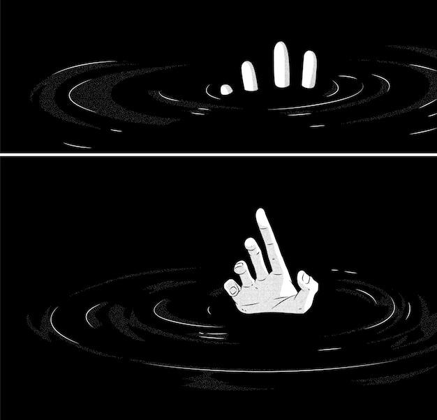 Hände im wasser hand gezeichnete illustration manga design vektor illustration dotwork tinte tattoo Premium Vektoren