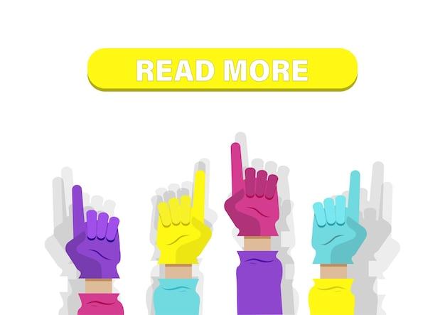 Hände in handschuhen, die auf zeichen zeigen, finden sie weiterlesen. flache vektorillustration.