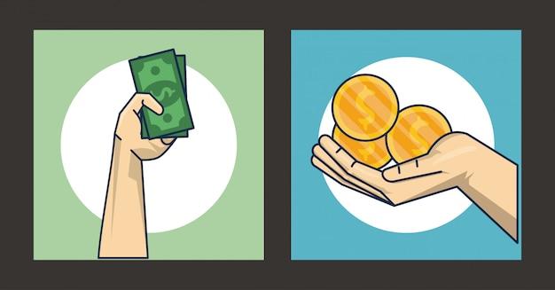 Hände menschlich mit münzen und geldscheinen