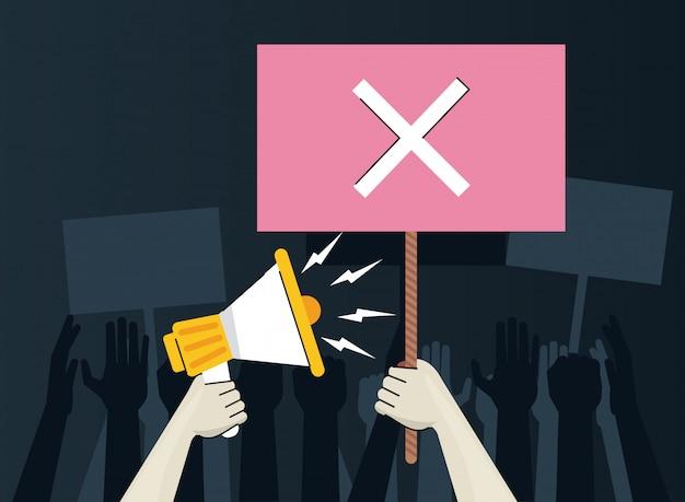 Hände menschlicher protestierender hebeplakat mit x und megaphon