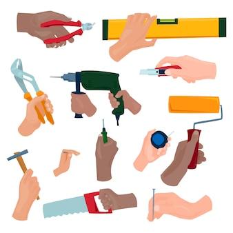 Hände mit bauwerkzeugarbeitskraftausrüstung. hauserneuerungs-heimwerkervektorillustration. industrielle baujobschlüssel-reparaturfunktion des tischlers.