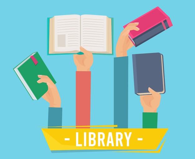 Hände mit büchern. bibliothekspersonen, die eröffnungsbuchkonzept des lernsatzes halten.