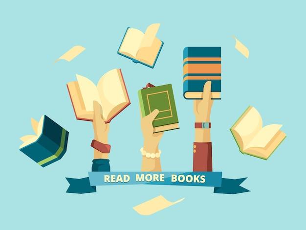 Hände mit büchern. studenten des intelligenten bildungskonzepts, die bücher im bibliothekshintergrund im flachen stil lesen und halten. illustration buch enzyklopädie, bildung und wissen
