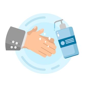 Hände mit desinfektionsgel reinigen.