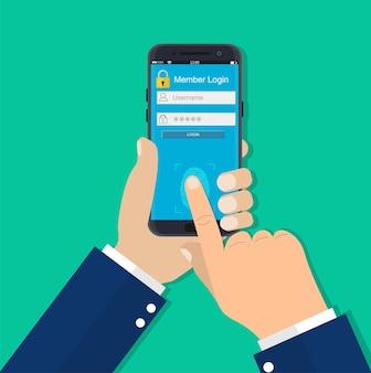 Hände mit entsperrtem smartphone