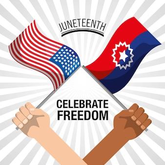 Hände mit flaggen, um die freiheit am 17. juni zu feiern