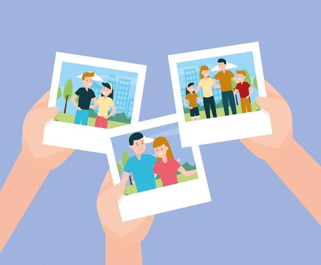 Hände mit fotos in familiy day