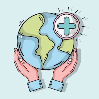 Hände mit globalem planeten und kreuzen klinisches symbol